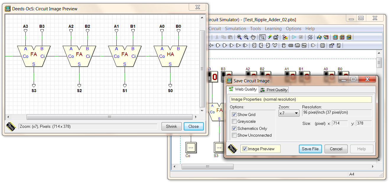 Deeds Version Notes 8 Bit Comparator Circuit Diagram The Show Unconnected Check Box Allows To Include Not In Image Highlighting Of Pins Editor Instead